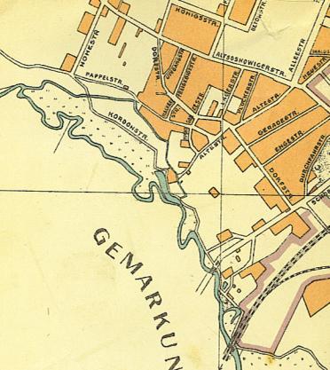 Mapa 2. Brynica: Od Drogi Szybkiego Ruchu do ulicy Sobieskiego na mapie z roku 1916.