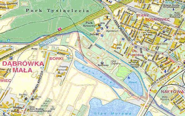 Mapa 3. Brynica: Od Drogi Szybkiego Ruchu do ulicy Sobieskiego.