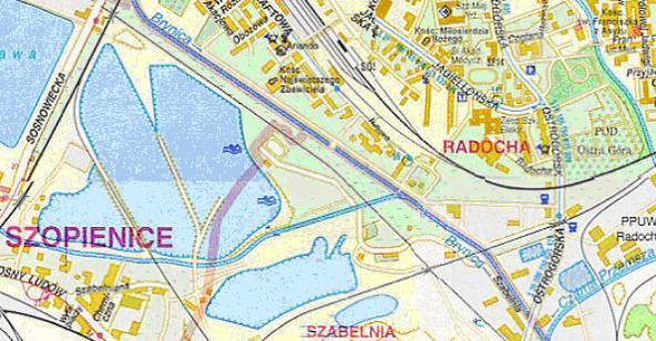 Mapa 4. Brynica: Od ulicy Sobieskiego do połączenia zCzarną Przemszą.