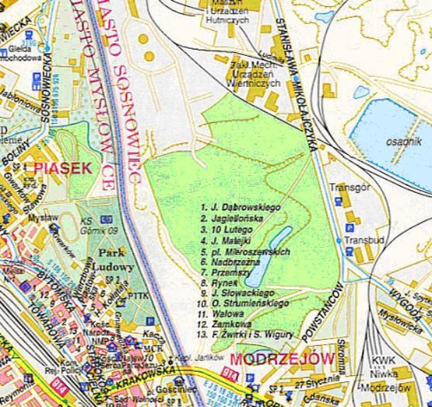 Mapa 8. Czarna Przemsza: Od Brynicy do ulicy Orląt Lwowskich.