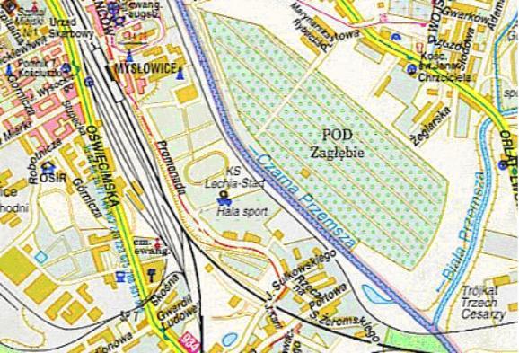 Mapa 9. Czarna Przemsza: Od ulicy Orląt Lwowskich do połączenia z Białą Przemszą.