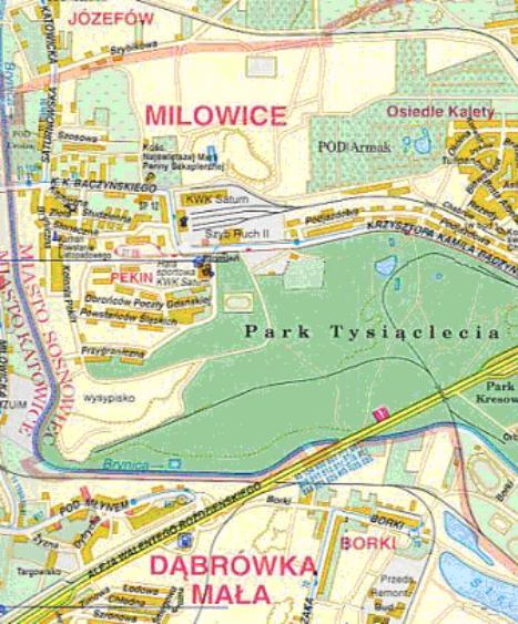 Mapa 1. Brynica: Od granicy z Czeladzią do Drogi Szybkiego Ruchu.
