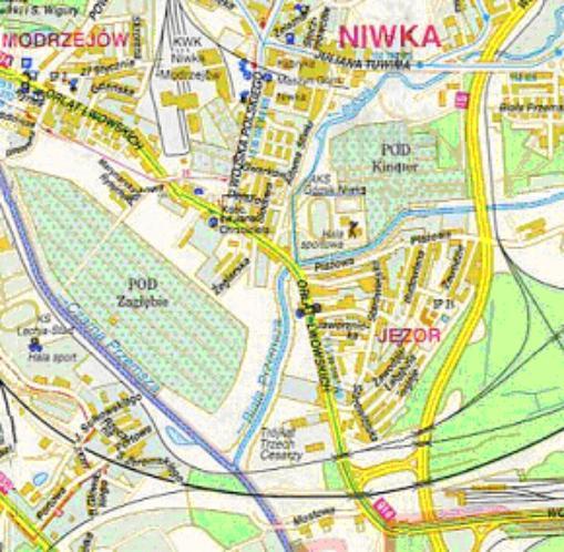 Mapa 15. Bobrek: Od ulicy Tuwima do połączenia zBiałą Przemszą. Biała Przemsza: Od ujścia Bobrka do połączenia zCzarną Przemszą.