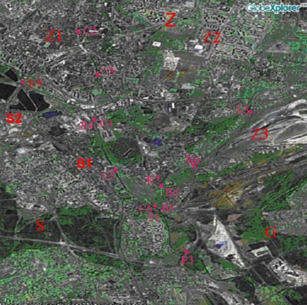 Zdjęcie satelitarne. Połączenie rzek płynących przez Sosnowiec.