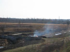 Zdjęcie 23. Bobrek. Wypalanie traw między Ostrowami Górniczymi aKazimierzem Górniczym.
