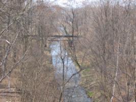 Zdjęcie 31. Bobrek. Widok z wiaduktu na ulicy Tuwima w dół rzeki.